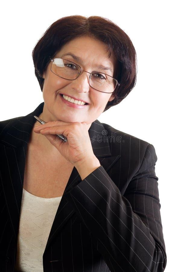 dojrzała kobieta szczęśliwa jednostek gospodarczych fotografia royalty free