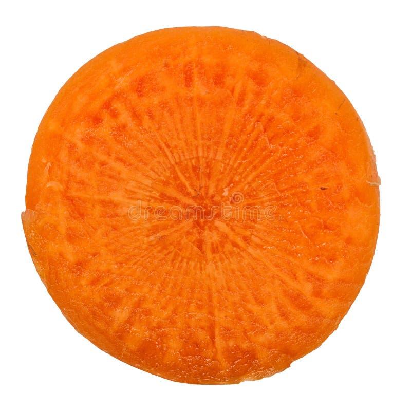Dojrzała marchewka w cięciu na białym tle zdjęcia stock