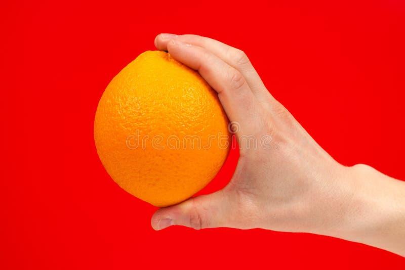 Dojrza?a soczysta wy?mienicie pomara?cze w r?ce odizolowywaj?cej na czerwonym tle Zdrowy ?asowanie i dieting poj?cie zdjęcia stock