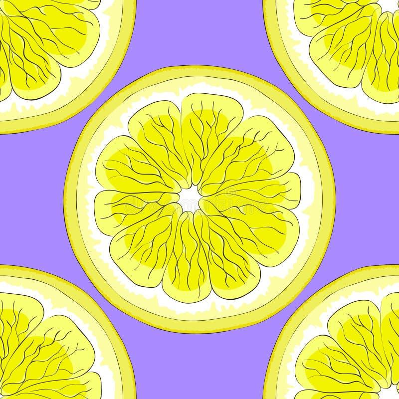 Dojrzałe cytryny na purpurowym tle ilustracji