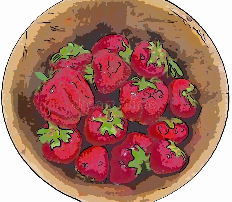 Dojrzałe jagody truskawka w drewnianym pucharze royalty ilustracja