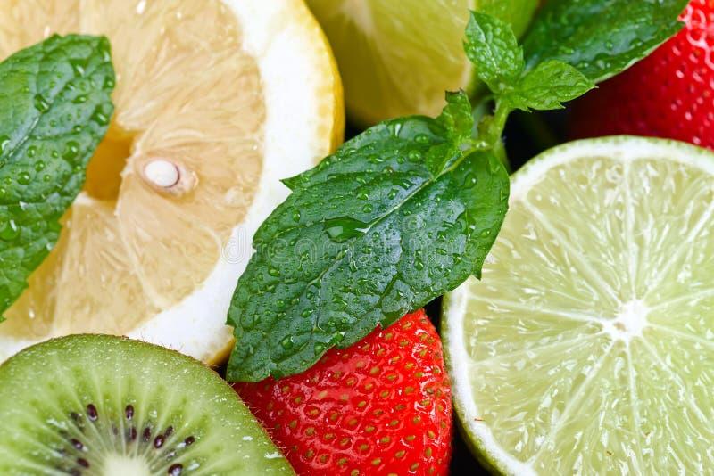 Dojrzałe soczyste owoc i miętówka z wodnymi kroplami obraz stock