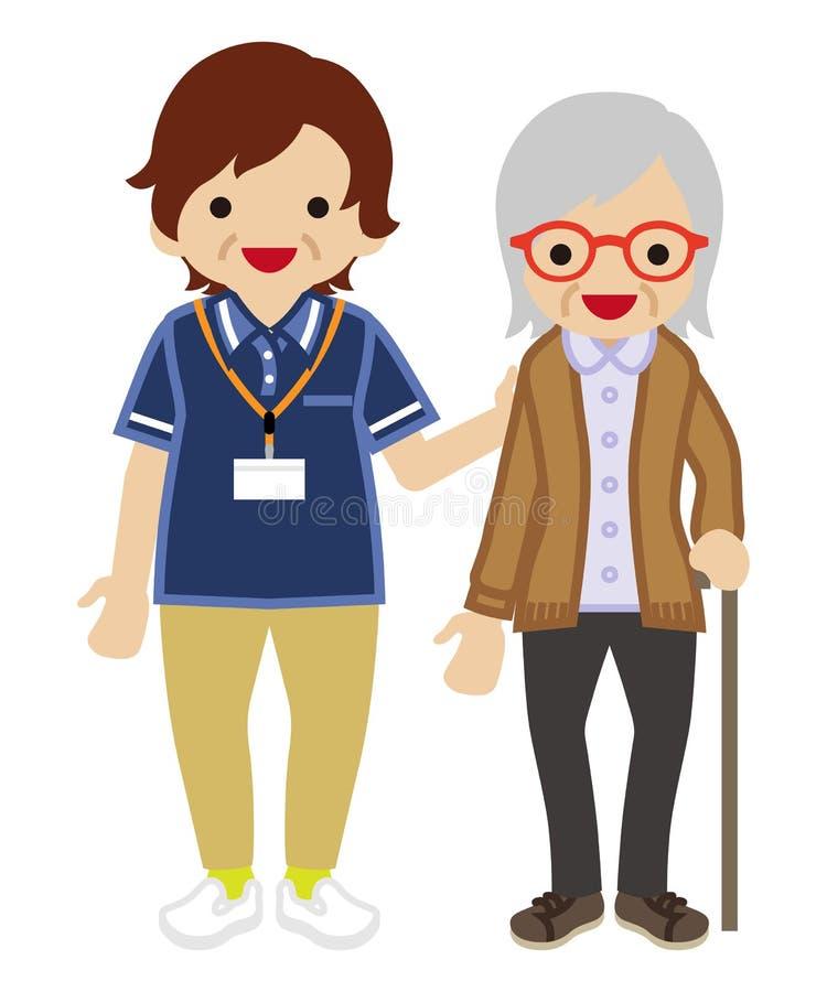 Dojrzałego Dorosłych kobiet opiekunu Podporowe Starsze kobiety ilustracja wektor