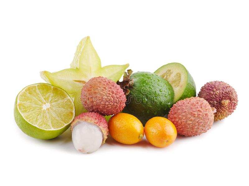 Dojrzałego Soczystego Tropikalnego lato owoc Lychee cytrusa Carambola Sezonowego Kumquat Pasyjna owoc Feijoa Egzotyczny mieszkani zdjęcie stock