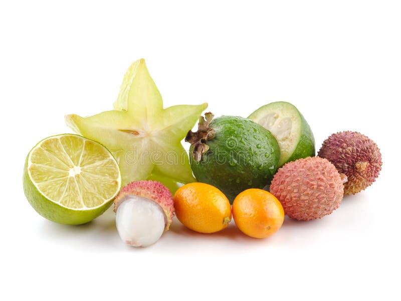 Dojrzałego Soczystego Tropikalnego lato owoc Lychee cytrusa Carambola Sezonowego Kumquat Pasyjna owoc Feijoa Egzotyczny mieszkani fotografia stock