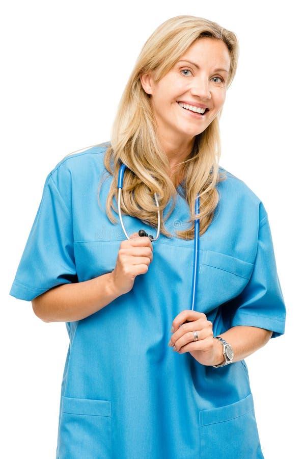 Dojrzałej doktorskiej kobiety pielęgniarki życzliwy odosobniony na białym tle obraz stock