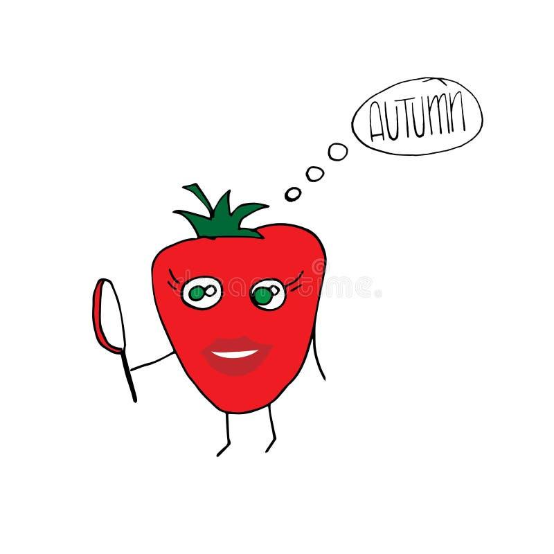 Dojrzały śmieszny pomidorowy patrzeć w lustrze, ręki rysunkowa ilustracja ilustracja wektor