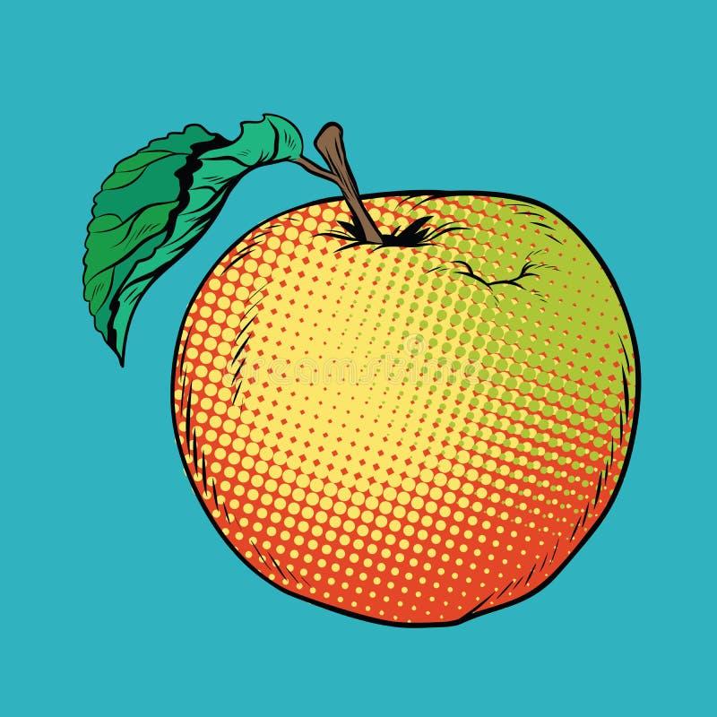 Dojrzały żółty czerwony Apple z zielonym liściem ilustracja wektor