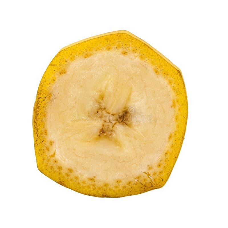 Dojrzały banan w cięcia ona bielu tle obraz royalty free