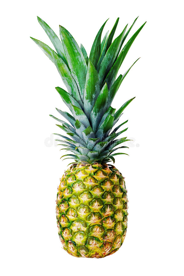 Dojrzały cały ananas odizolowywający na biały tle obrazy royalty free