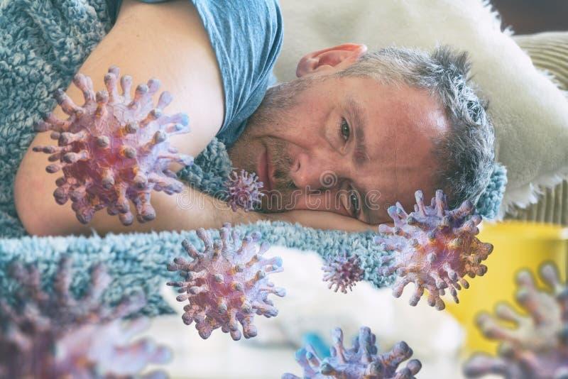 Dojrzały człowiek cierpiący na chorobę wirusową fotografia stock