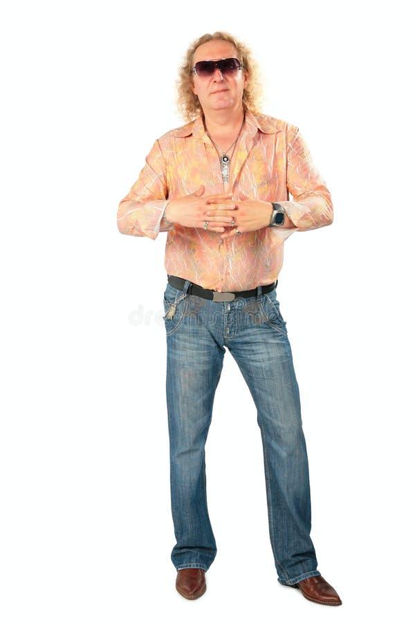 dojrzały człowiek stanowić disco obrazy stock