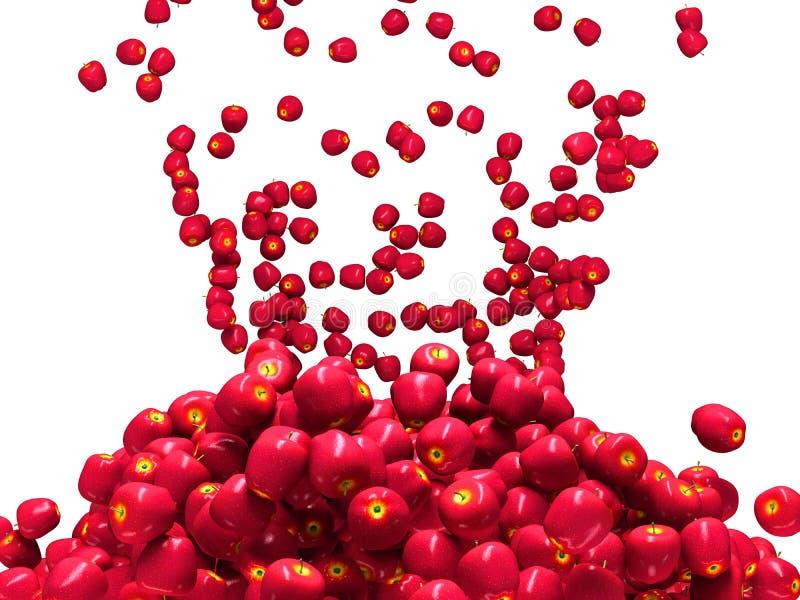 Dojrzały czerwony jabłczany spada puszek odizolowywający ilustracji