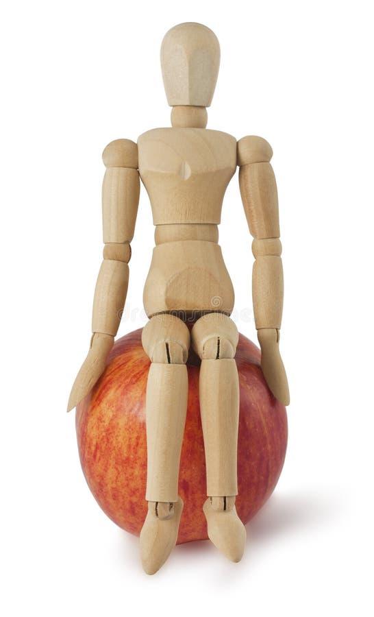 dojrzały jabłczany mannequin siedzi drewnianego fotografia royalty free
