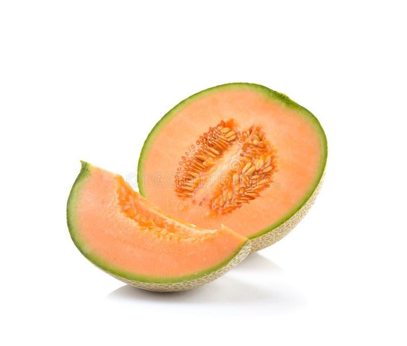 Dojrzały kantalupa melon odizolowywający na białym tle obrazy royalty free