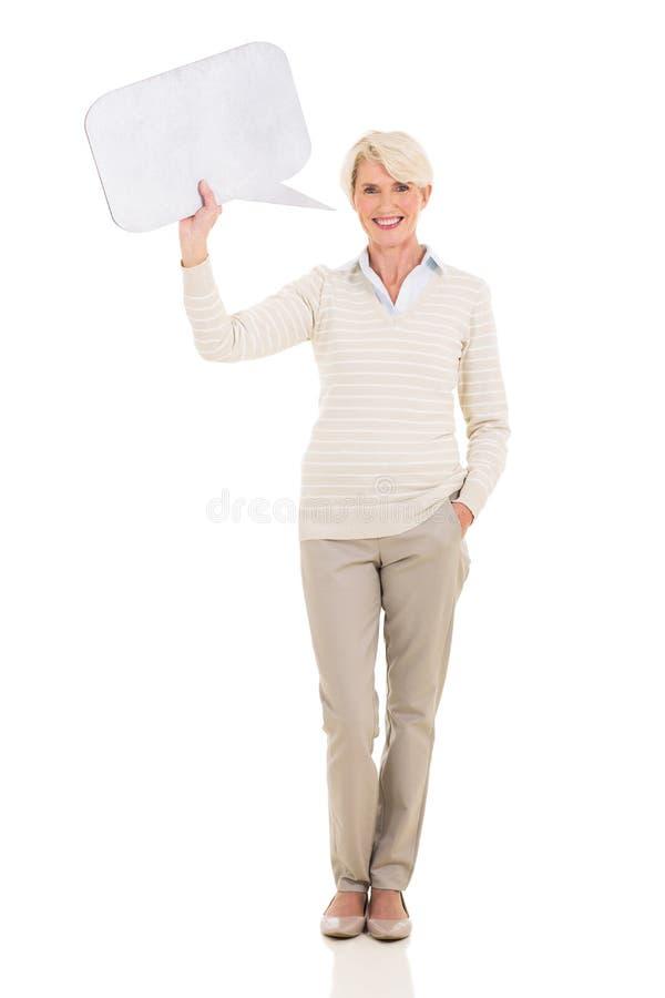 Dojrzały kobiety mowy bąbel obrazy stock