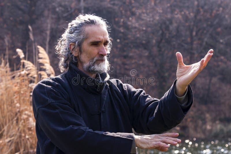 Dojrzały mężczyzna ćwiczy Tai Chi dyscyplinę outdoors obraz royalty free