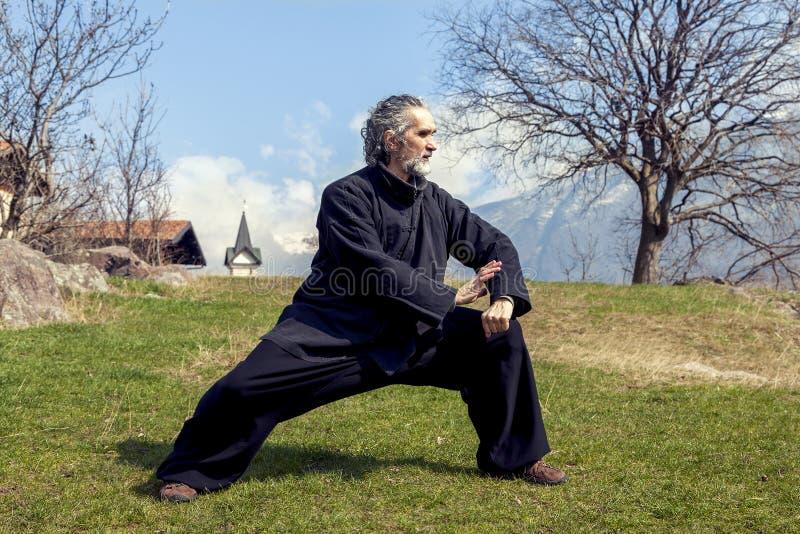 Dojrzały mężczyzna ćwiczy Tai Chi dyscyplinę outdoors fotografia royalty free