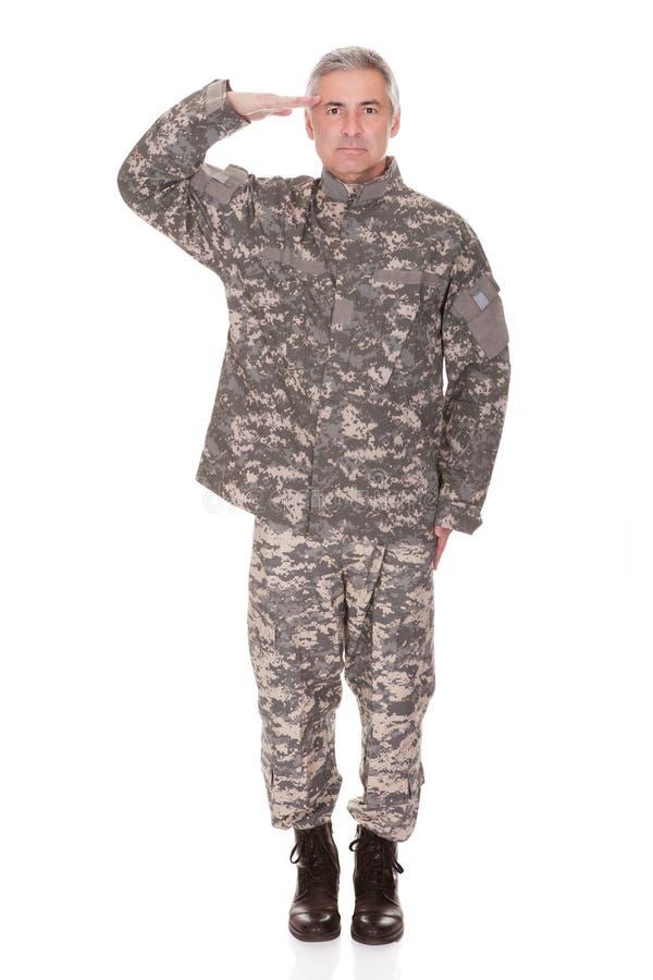 Dojrzały militarny żołnierza salutować zdjęcia royalty free