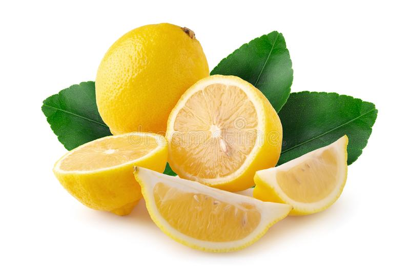 Dojrzały plasterek żółta cytryna cytrusa owoc odizolowywająca nad białym tłem zdjęcia royalty free