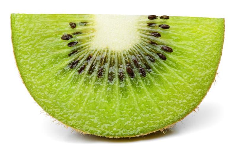 Dojrzały plasterek kiwi owocowy stojak odizolowywający na bielu fotografia royalty free