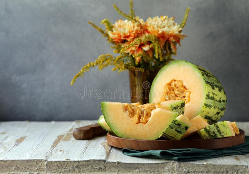 Dojrzały pomarańczowy melon zdjęcia stock