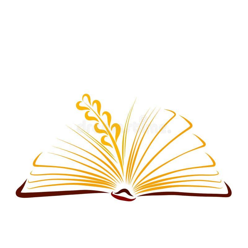 Dojrzały pszeniczny ucho między pogodnymi stronami otwarta książka fotografia stock