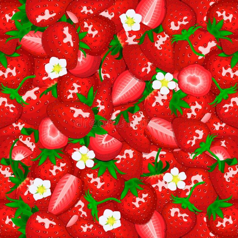 Dojrzały soczysty truskawkowy tło Wektor karciana ilustracja Blisko interliniująca świeża jagoda strugał, kawałek połówka, plaste ilustracja wektor