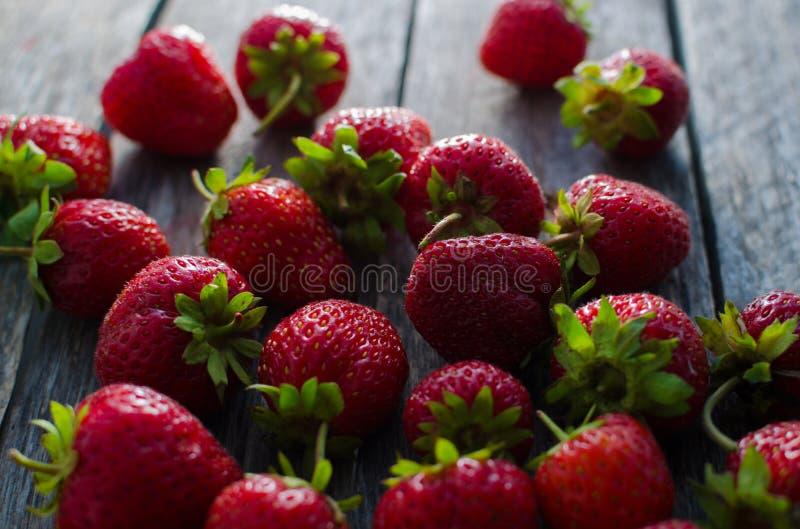 Dojrzałych czerwonych truskawek jaskrawy światło zdjęcie royalty free