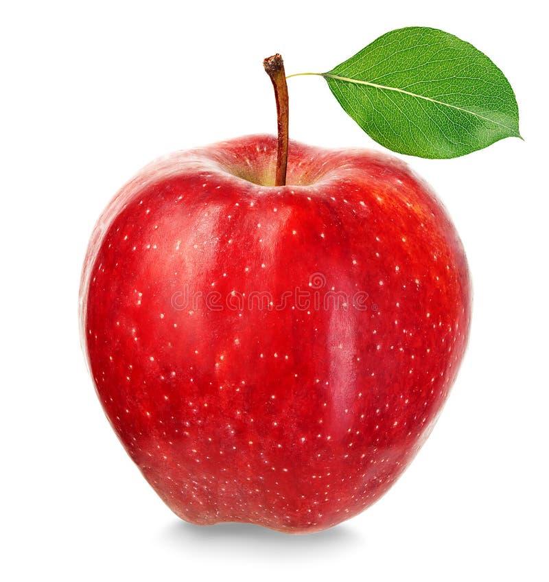 Dojrza?y czerwony jab?ko odizolowywaj?cy na bia?ym tle zdjęcie royalty free