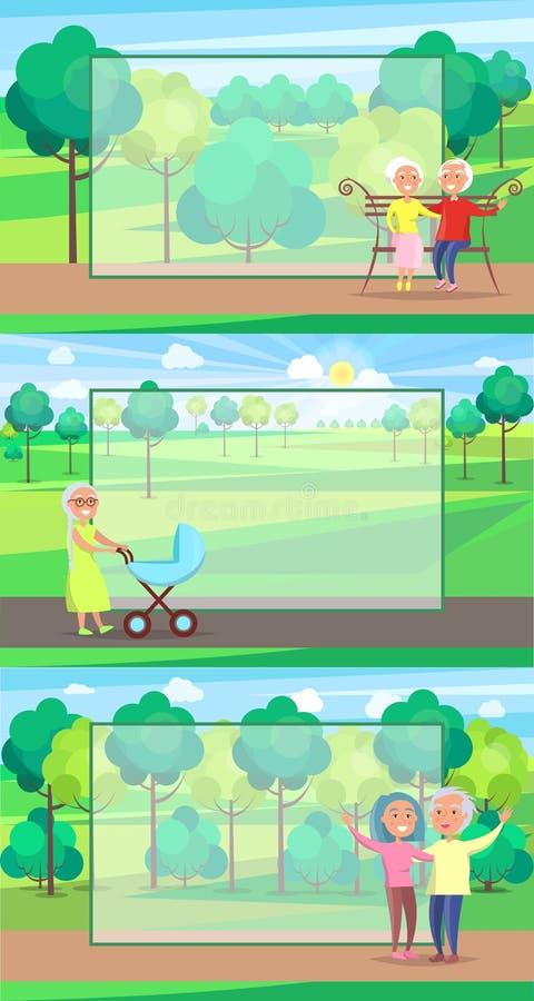 Dojrzali ludzie dziadków Wpólnie Siedzą przejażdżka spacer royalty ilustracja