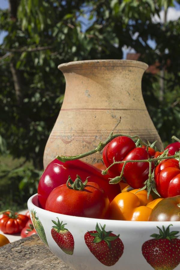 Dojrzali warzywa w ceramicznym naczyniu fotografia stock