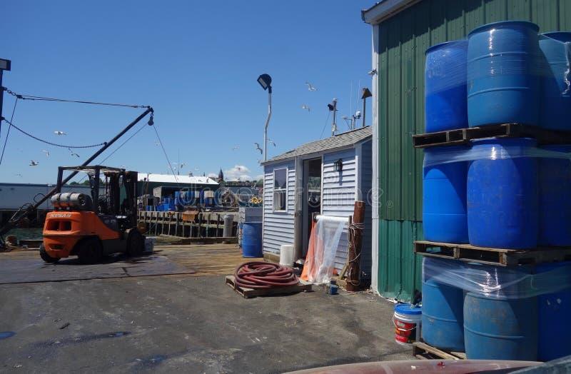 Doków i nabrzeży nadmorski, pracujący nabrzeże Portland Maine obrazy stock
