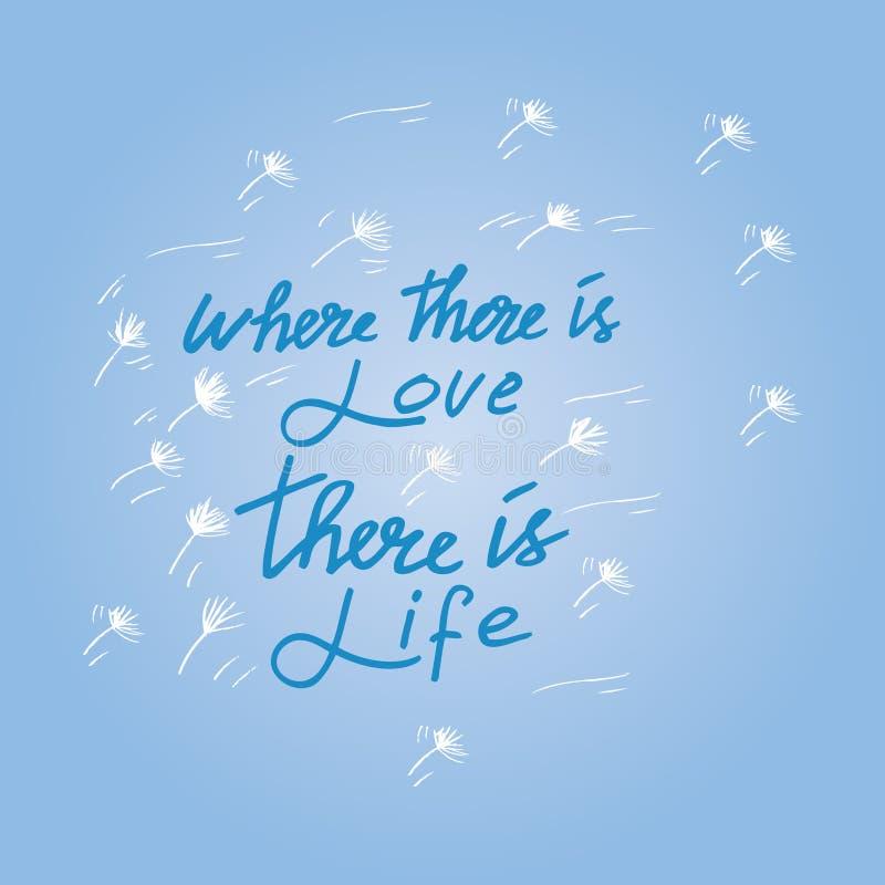 DOKĄD TAM JEST miłość TAM JEST życie | MAHATMA GANDHI ilustracja wektor