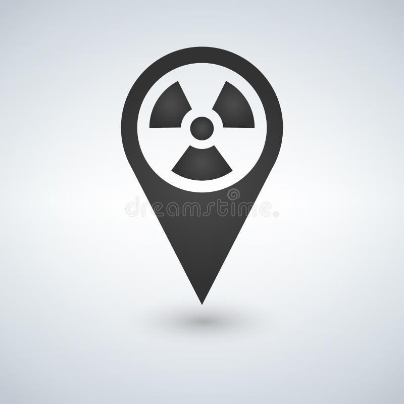 Dokładnie określać jądrowa strefy ikona w modnym mieszkanie stylu odizolowywającym na białym tle Symbol dla twój strona interneto ilustracji