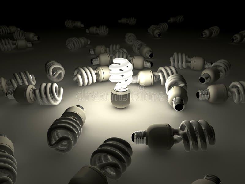 dokładność światła fluorescencyjnego żarówek ilustracja wektor