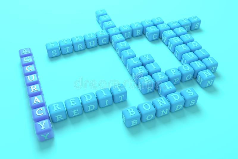 Dokładność, finansowy słowa kluczowego crossword Dla strony internetowej, graficznego projekta, tekstury lub t?a, ?wiadczenia 3 d royalty ilustracja