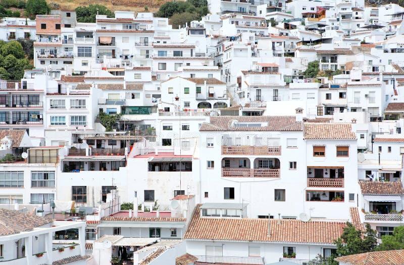 dokładny Mijas zajęty pozostałości Hiszpanii miasta zdjęcia stock