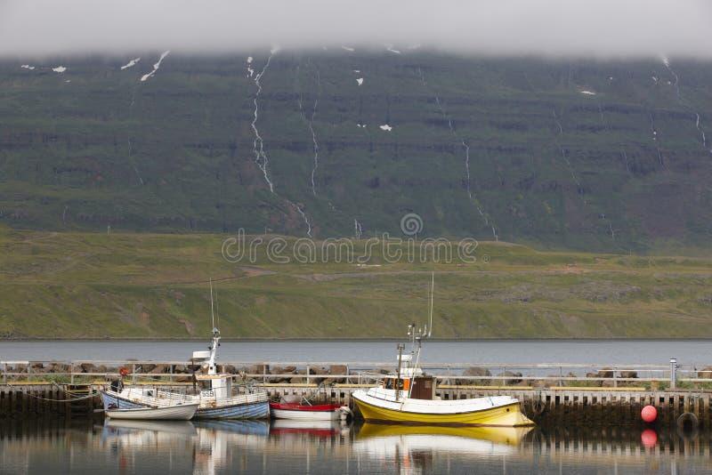 Dok met vissen-treilers in IJsland stock afbeeldingen