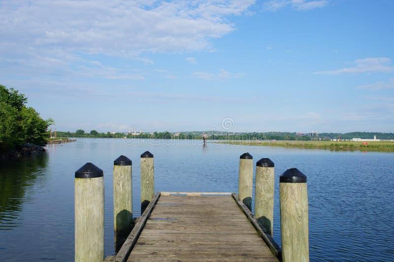 Dok op Potomac Rivier, Alexandria Virginia stock foto
