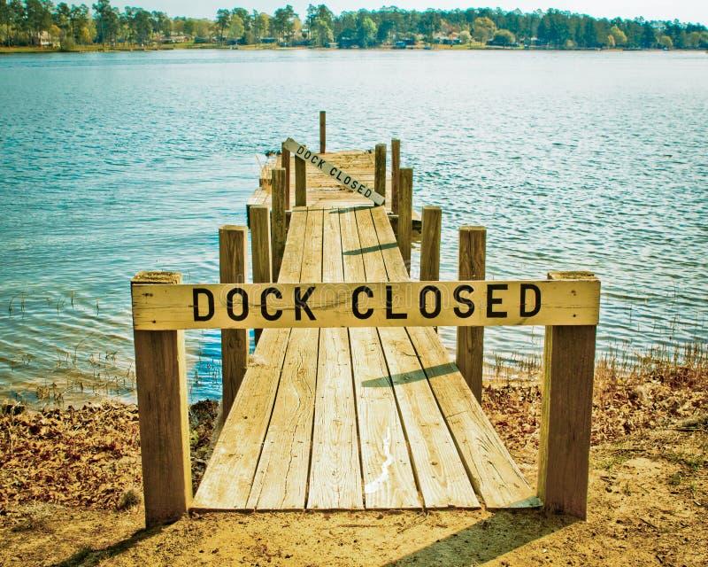 Dok Zamykający znak na jeziorze Otaczającym drzewami obrazy stock