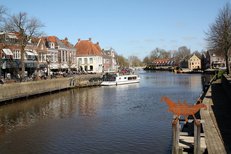 Dokkum. Netherlands. Dokkum. April-18-2015. View over a canal in the city of Dokkum. Netherlands stock image
