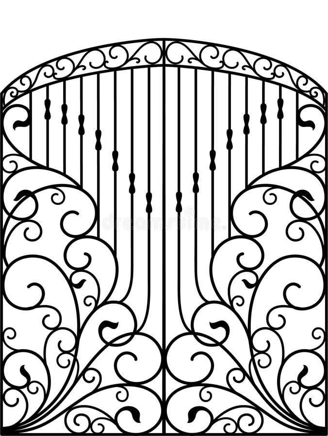 Dokonanego żelaza brama, drzwi, ogrodzenie ilustracja wektor
