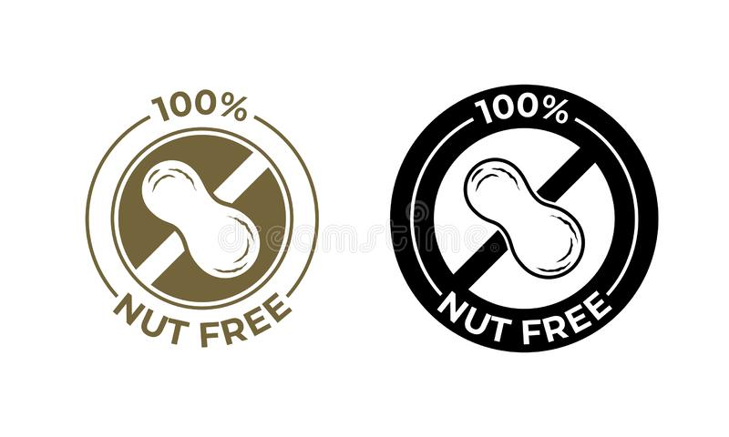Dokrętki bezpłatna karmowa wektorowa ikona Karmowa pakunek foka, 100 procentów dokrętki bezpłatni składniki, arachidowa alergii i royalty ilustracja