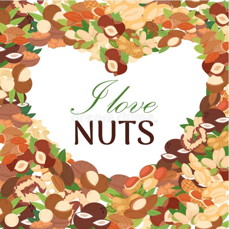 Dokrętka wektoru plakat Arachid, koks, hazelnut, pistacja, migdał, orzech włoski lub macadamia w formie serce, t?a pi?knej du?y b ilustracji