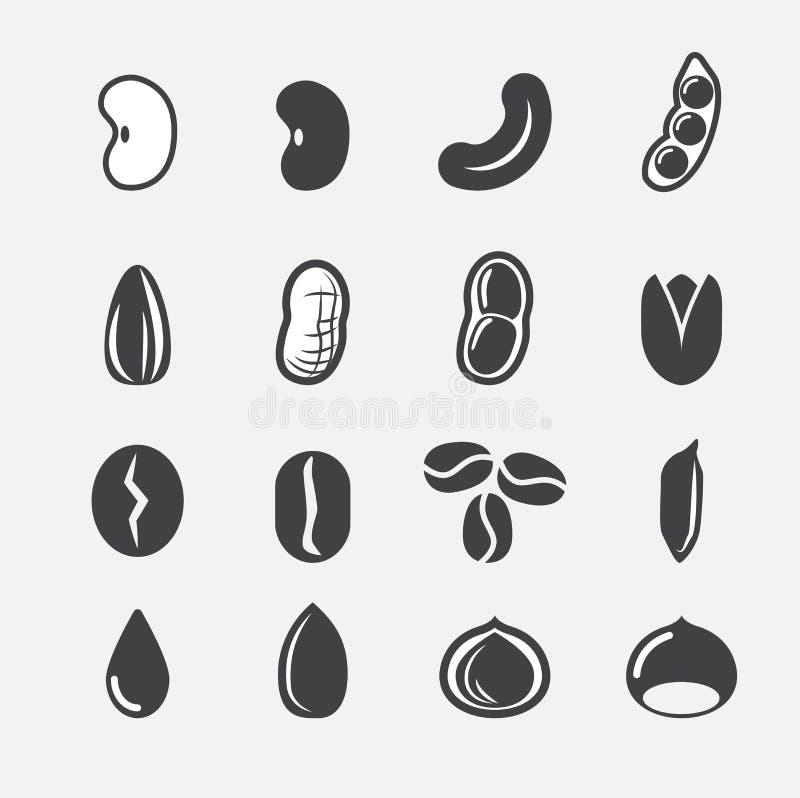 Dokrętki i ziarna ikona ilustracji