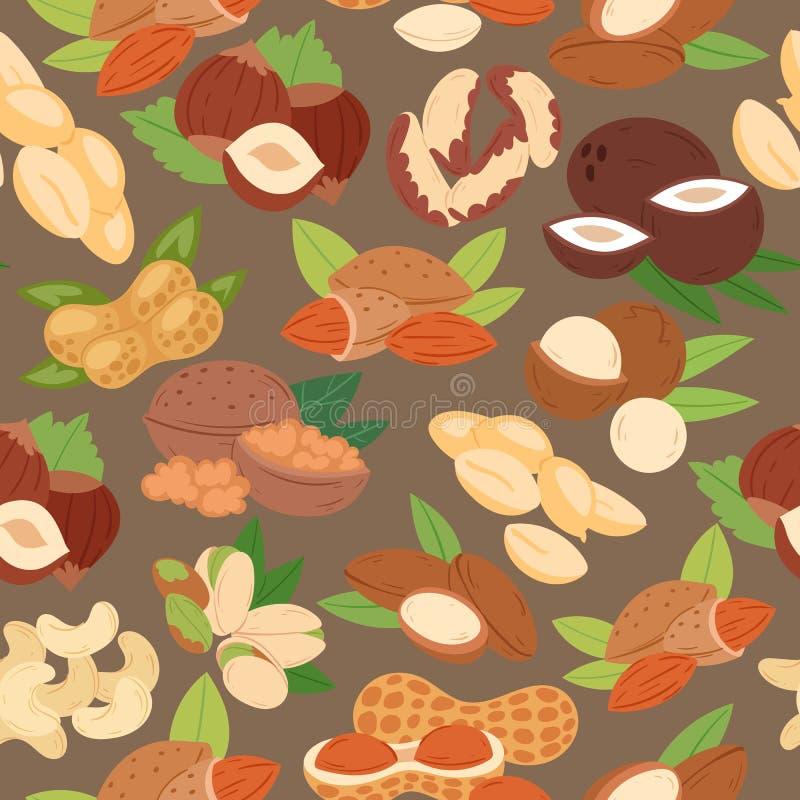 Dokrętki inkasowej płaskiej kreskówki bezszwowa deseniowa wektorowa ilustracja Arachid, pistacja, nerkodrzew, koks, hazelnut i ilustracji