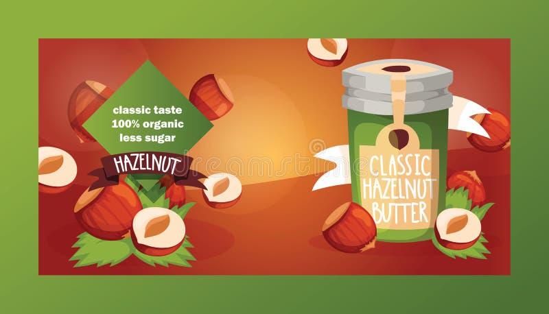 Dokrętki wektorowy nutshell hazelnut z masło czekoladowym miodem w szklanego słoju tła żywności organicznej ustalonym odżywianiu  royalty ilustracja