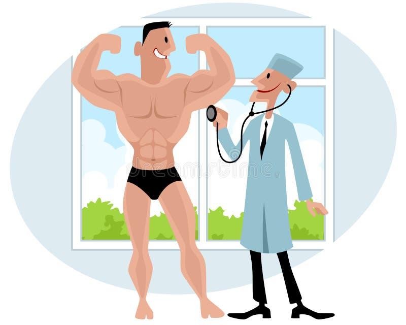 Doktor überprüft Bodybuilder stock abbildung