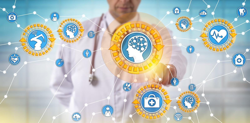 Doktor Activating Medical Things über Internet lizenzfreies stockfoto